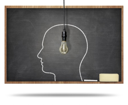Blackboard with man head and lightbulb hanging