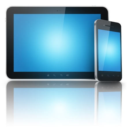 Tablet and phone with blue screens isolated