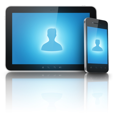 Person icon on tablet and phone screens