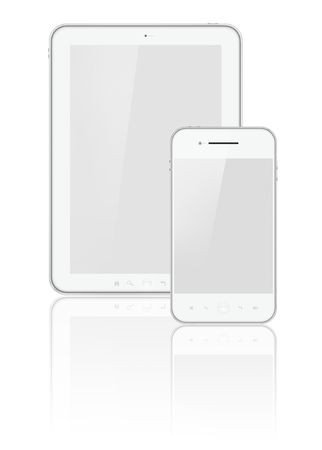 Tablet and phone isolated on white Imagens