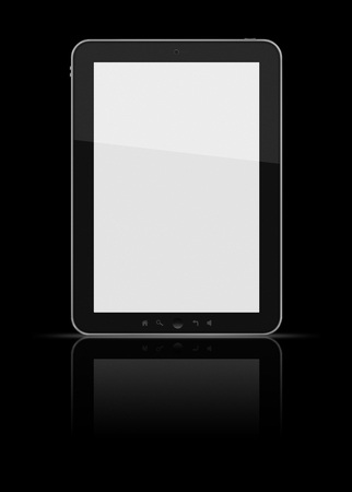 Tablet isolated on black Imagens