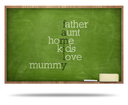 Family puzzle word concept on blackboard with frames