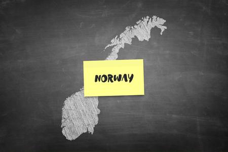 Norway shape in blackboard