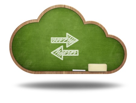 Arrows pointing left and right on cloud shape blackboard