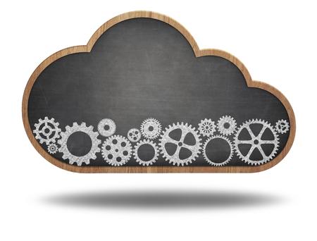 Cloud shape blackboard with cogwheels