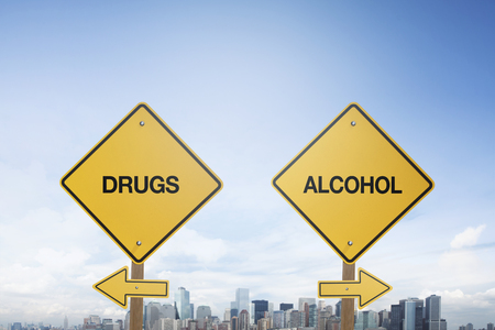 Traffic sign concept with texts drug and alcohol