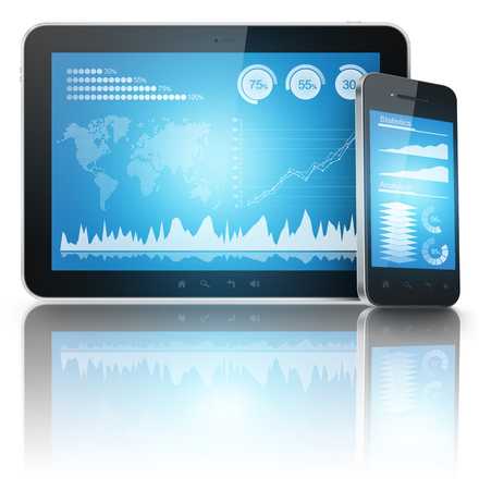 Tablet on mobile phone with business graphs on screen Imagens