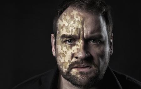 Camo texture on man face