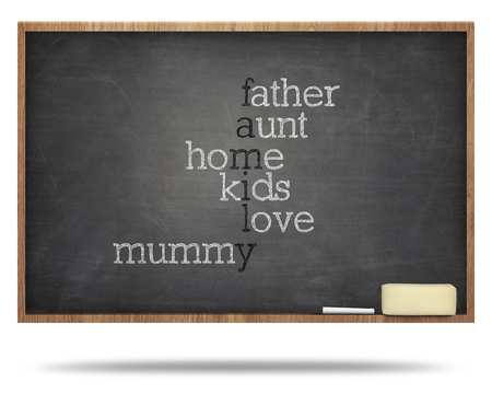 Family word cloud on blackboard with frames