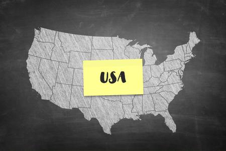 USA shape in blackboard