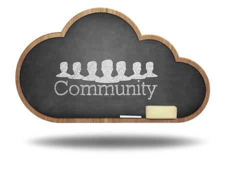 Community word cloud concept on blackboard