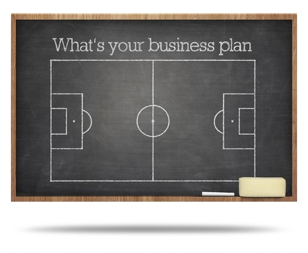 Whats your business plan text on soccer field blackboard