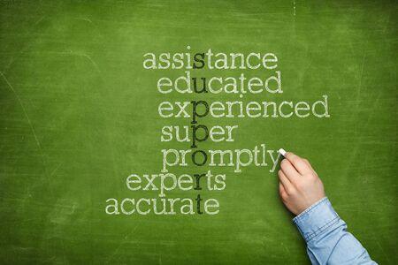 Support word cloud concept on blackboard Banco de Imagens