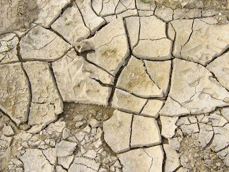lack of water: Very cracked the ground on fields is result of drought Stock Photo
