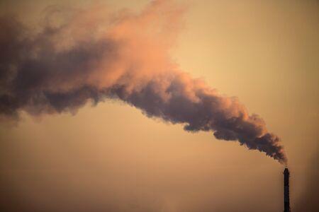 Air Pollution from Smokestacks - colored smoke