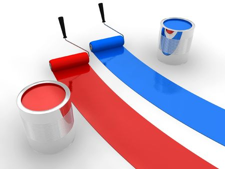 house painter: Red and blue paint