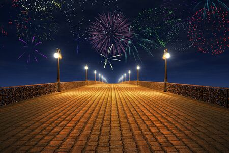 folk tale: Night fireworks on the empty bridge Stock Photo