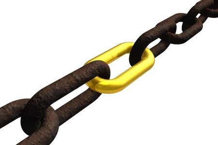 Rusty chain with golden link Stock Photo - 4727919