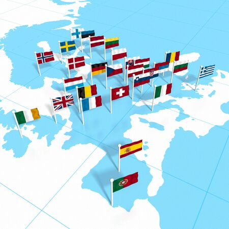 flagpoles: European flags on the map