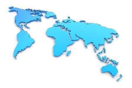 Blue extruded world map photo
