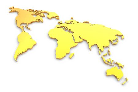Golden extruded world map