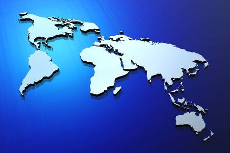 extruded: Mappa del mondo estruso blu