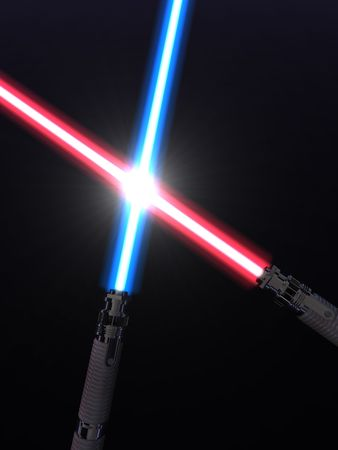 Crossed light sabers photo