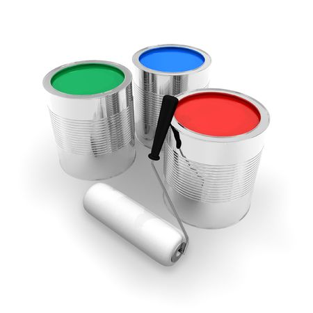 Cans with color paint photo