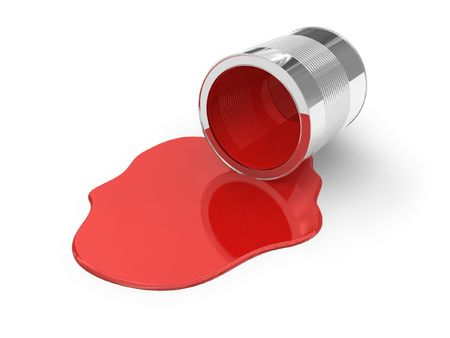 oil spill: Versata vernice rosso Archivio Fotografico