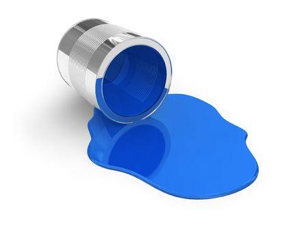 pintura derramada: Derramado pintura de color azul Foto de archivo
