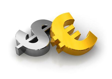 stock predictions: Dollari o Euro? Archivio Fotografico