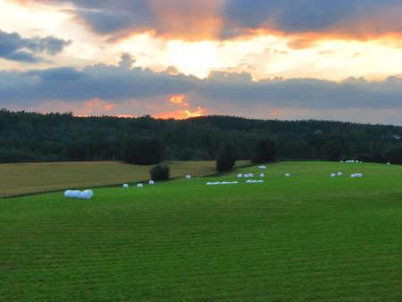 Sunset in village Stock Photo - 4795628