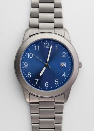 exactness: Titanium watch isolated on white Stock Photo