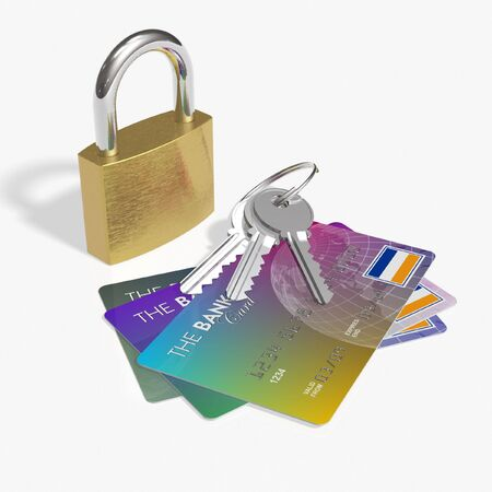 keylock: Credit cards and security Stock Photo