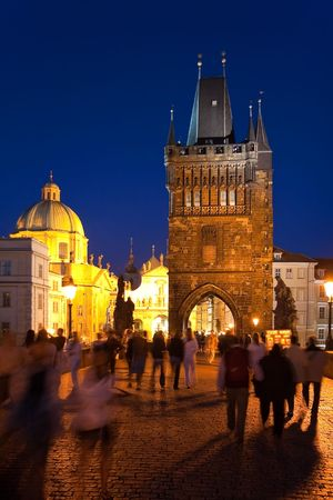 Night Charles Bridge in Prague photo