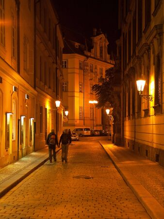 Night street in Prague photo