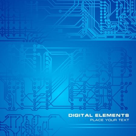 componentes: Placa de circuito de fondo azul