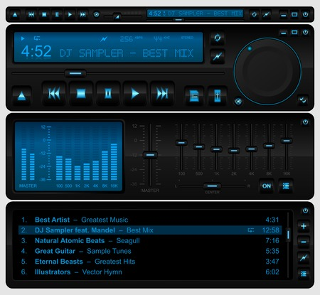 Complete multimedia player interface Vector
