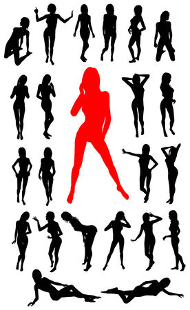 Girl silhouettes collection Vector
