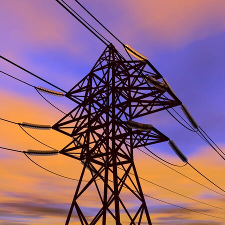 catenation: High voltage power line in sunset