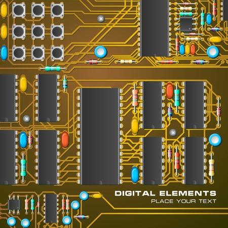 integral: Placa de circuito con microchips  Vectores