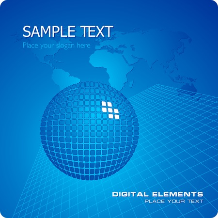 globe grid: Blue stylish business template Illustration