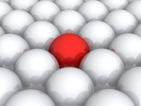 among: Red ball within white ones Stock Photo