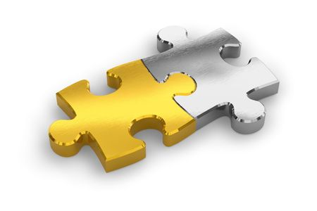 two objects: Two joined puzzle pieces