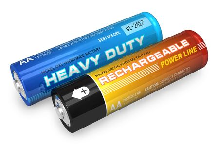 alkaline: Two AA batteries Stock Photo
