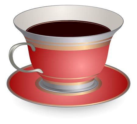 Czerwona filiżanka kawy