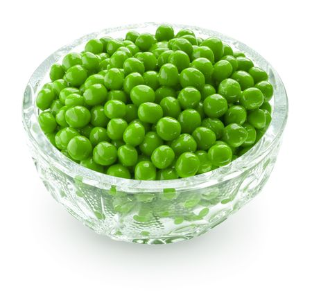 peas: Preserved peas in crystal bowl Stock Photo