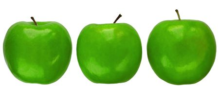 granny smith: Three Granny Smith apples Stock Photo