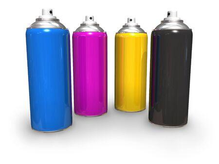 CMYK spray cans Stock Photo - 5219101