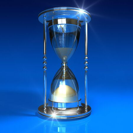 Hourglass on blue background Stock Photo - 5219104